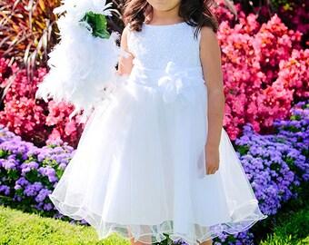 Flower Girl Dress - White Flower Girl Dress - Special Occasion White Sequin Toddler Flower Girl Dress - First Communion Dress  (ets0155wt)