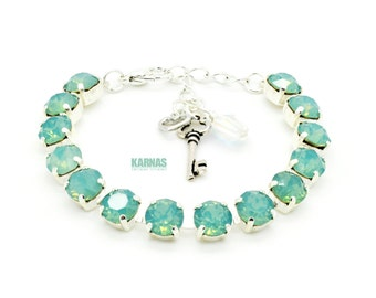 PACIFIC OPAL 8mm Crystal Chaton Bracelet Made With Swarovski Elements *Pick Your Metal *Karnas Design Studio *Free Shipping*