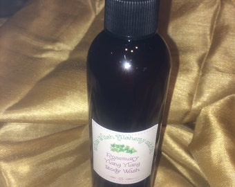 Organic Body Wash Rosemary Ylang Ylang Mint Goats Milk and Shea Butter White Witch Alchemy