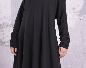 Plus size tunic/ loose tunic, maternity top, tunic dress, long sleeved top, black tunic/ black top - UM-F002-FL
