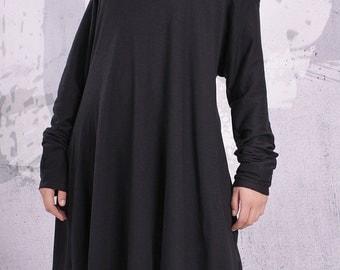 Plus size tunic/ loose tunic, maternity top, tunic dress, long sleeved top, black tunic - UM-F002-FL