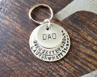 Dad Keychain Daddy Keychain Handstamped Keychain Personalized Keychain Layered Keychain Dad Fathers Day Name Keychain Gift for Dad