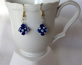 Blue Glass Bead Earrings  with White Dots  Fishhook ear wires Hand Crafted
