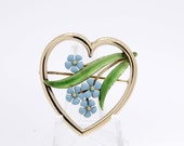 14K Gold Heart and Blue Forget-me-not flower Brooch