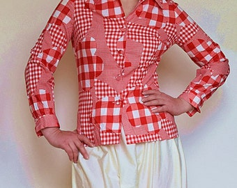 Vintage 1950s/50s cotton shirt blouse Red white patchwork checkered pattern Long sleeves Fitted Small