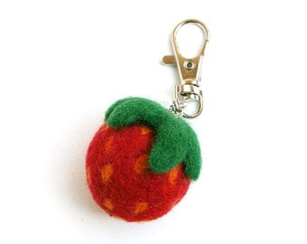 Wool Needle Felted Keychain Bag Charm with  Red Green Strawberry  Key Ring Valentines Mother Day  Present Gift