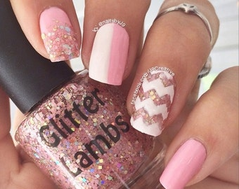 Tea Party Glitter Nail Polish : Pink and Gold Glitter Nail Lacquer-Indie Nail Polishes