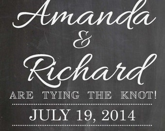 Wedding Save the Date Chalkboard // Photo Prop // (11x14) - Custom Colors Available *Digital File*