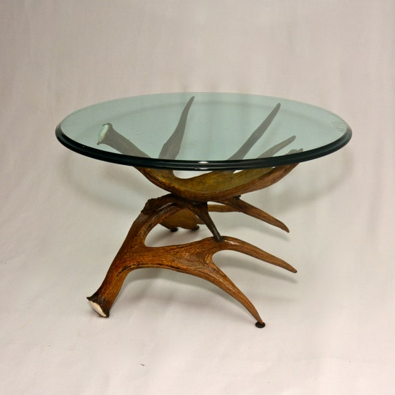 Items Similar To Moose Antler Coffee Table W Glass Top On Etsy