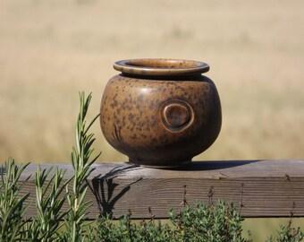Studio Pottery Vase By Ove Brandels, Swedish Brown Jar, Scandinavian Art Pottery, Sweden