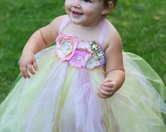 Adorable Light Pink and Gold Tutu Dress and Headband