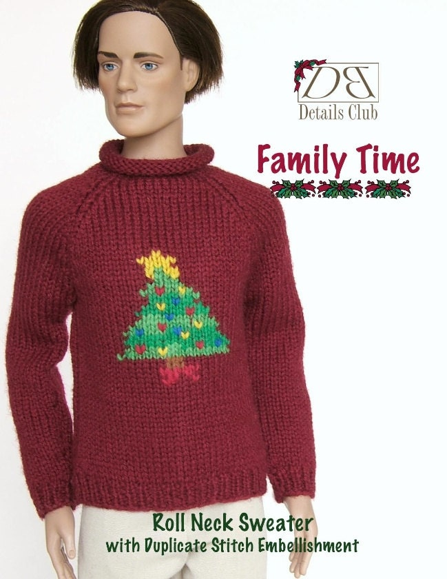 Knitting Pattern Roll Neck Jumper : Knitting pattern for 17 inch fashion dolls: Roll Neck Sweater