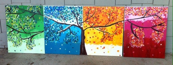 Items similar to four seasons tree painting on etsy for 4 seasons mural