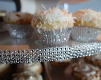 Diamond Bling Mesh Ribbon - SUPPLY Faux Rhinestone Fashion DIY Rhinestone Cupcake Tower Decor Black, White, Silver Wedding Princess Party