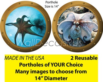 Octopus Wall Decal, Wall Art, Ocean Wall Decals, Porthole Window, Nautical Wall Decals, Fish Decals, Wall Graphics, O31O30