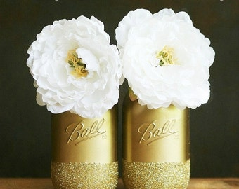 Gold Painted Ball Mason Jars - Wedding Decor - Vase - Home Decor- Pencil Holders - Vase - Wedding Centerpiece - Mason Jar Decor