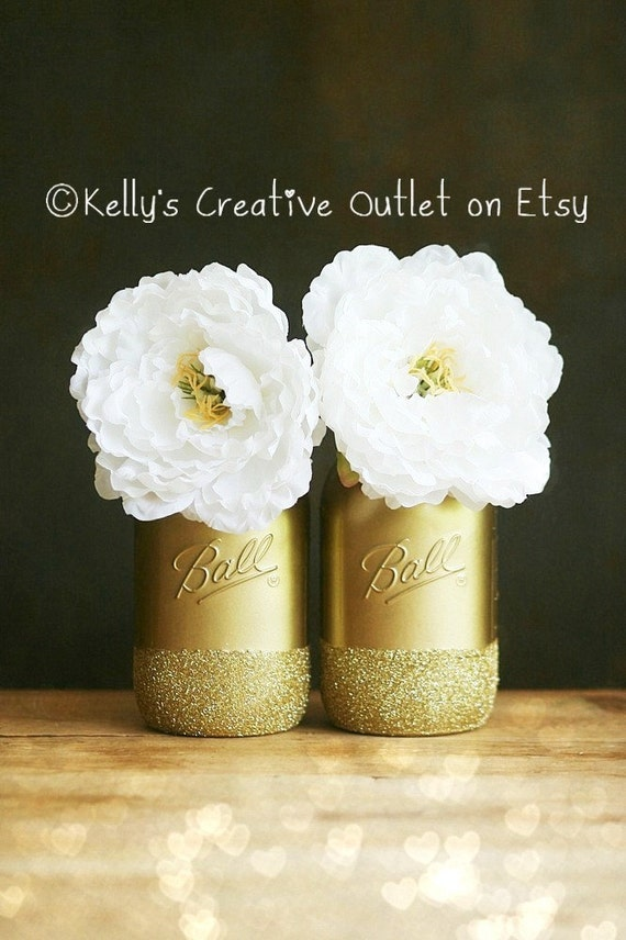 gold painted ball mason jars wedding decor vase home
