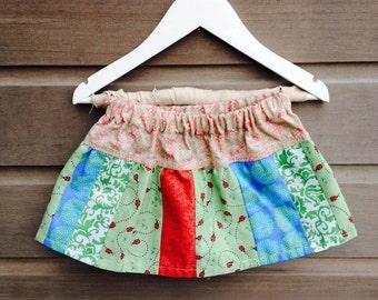 Toddler girls ladybug patchwork skirt / Toddler twirl skirt / 12-18 month size / Girls holiday skirt / Red, green and blue skirt