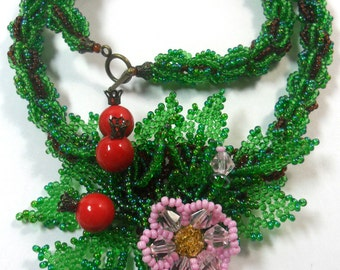 """Necklace """"Eglantine"""" from the Czech beads with coral beads"""