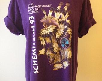 SALE 1990's Native American Printed Purple Unisex Tshirt