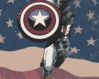 Captain America, Vintage 12x18 Original Art Print