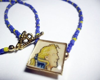 Final Fantasy VI Edgar pendant with blue and yellow beads - Final Fantasy 6 - Super Nintendo - gamer jewelry - retro video game necklace
