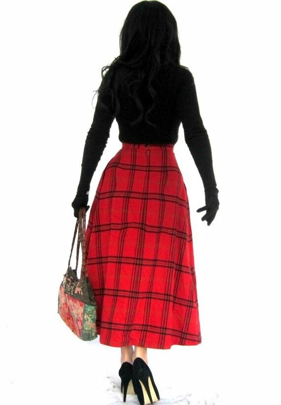 tartan wool skirt high waist plaid a by