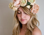 Flower Crown - soft muted pink and peach {floral crown, garland, wreath}