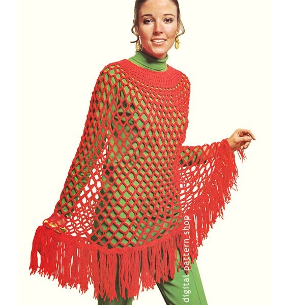 Womens Crochet Poncho Pattern 1960s Vintage by ...
