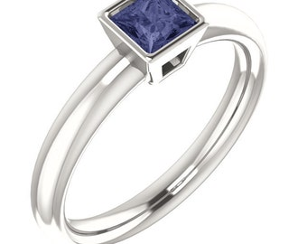 Iolite Square Stacking Ring