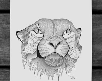Cheetah Drawing - Reproduction - Print - Illustration - hand drawn - pen and ink - graphite