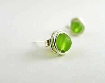 Sea glass stud earrings green sea glass jewelry handmade earrings wedding jewelry bridesmaids seaglass jewelry sterling silver wire wrapped