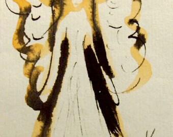 Angel Painting, Original Watercolor Painting ,Guardian Angel, Small Paintings, Angel Art