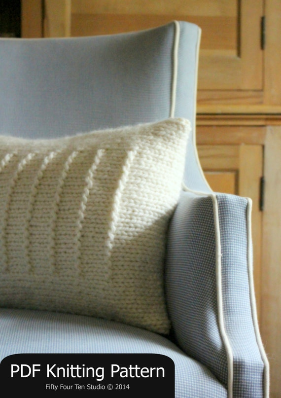 Easy Cushion Knitting Pattern : Pillow KNITTING PATTERN / Quick & Easy Knit / Cushion / Super