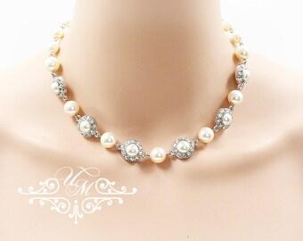 Wedding Jewelry Single Strand Swarovski Pearl Swarovski Crystal Rhinestone Necklace Bridal necklace Bridesmaids Necklace - ORIANA