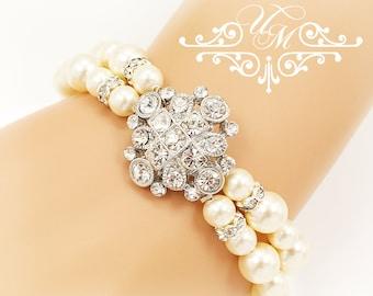 Wedding Jewelry Swarovski Pearl Bracelet Double strands Diamond look Bracelet Bridal Jewelry Bridal Bracelet Bridesmaids Bracelet - VIOLET