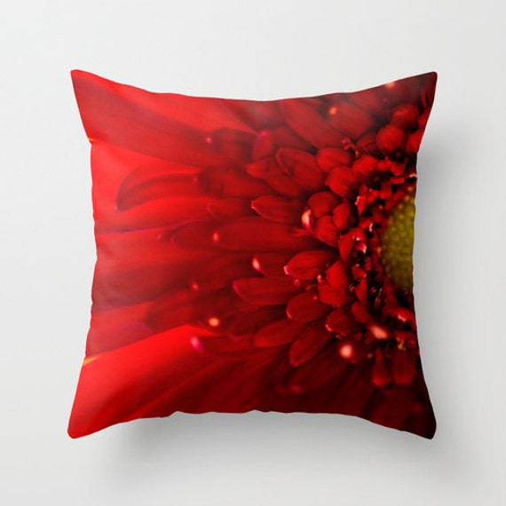 Red Daisy Pillow, Photography Pillow, Flower Pillow Cover, Red Pillow, Indoor Pillow, Outdoor Pillow, Red Home Decor, Macro Photography