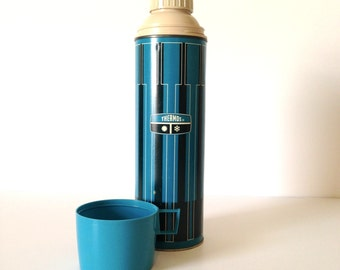Vintage Midcentury Quart Thermos with Black and Blue Graphic Pattern