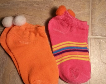 Bright and Colorful Pompom Socks, 2 pairs, fits babies to toddlers