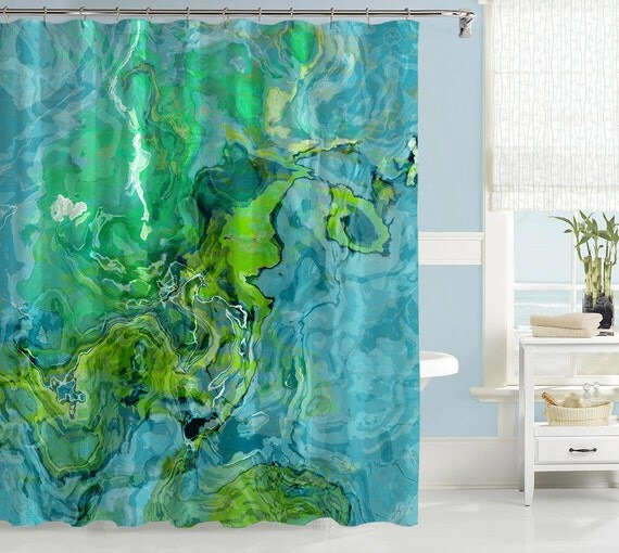 abstract art shower curtain contemporary bathroom decor aqua and