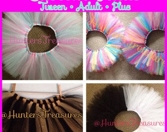Custom Tutus for Tweens and Adults! Tween, Adult, and Plus Sizes in a Variety of Colors and Designs!!