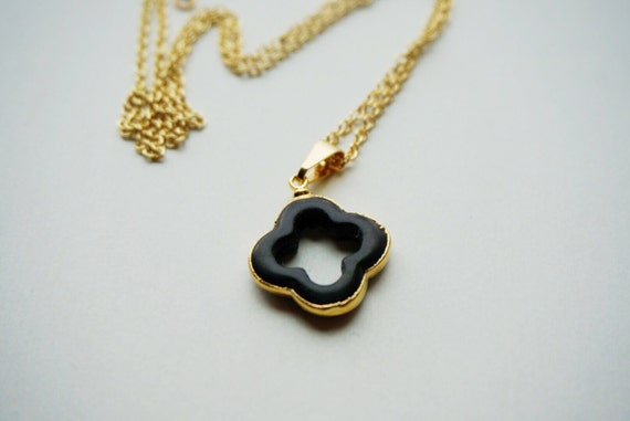 sale black clover necklace in gold by dolceave on etsy