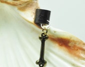 Dog bone ear cuff; bone ear jewelry; gun metal ear cuff with bone charm; dog bone charm; antique brass dog bone ear cuff
