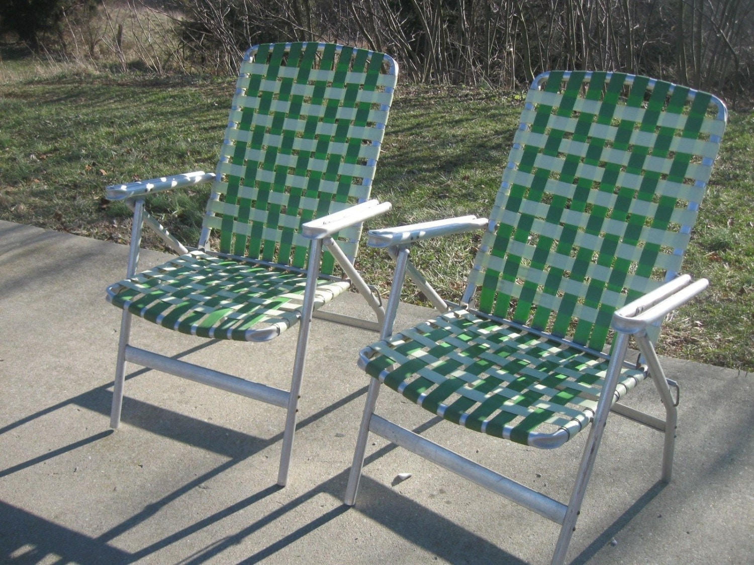 Vtg Aluminum Folding LAWN CHAIRS Jadite Green by Eclecticdesigns22