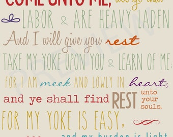 Missionary Quote Scripture Come Unto Me All ye that Labor & are Heavy Laden Give Rest LDS Mormon Instant Download Printable Downloadable JPG