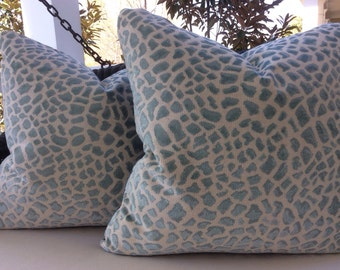 "Cowtan and Tout Pillow ""Lynx"" Cover in Aqua Blue Leopard Print with ivory Velvet Backing"