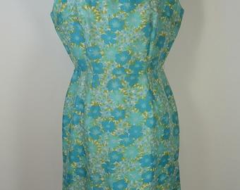 60s Wiggle Blue Dress//Flower Dress//Day Dress//Silk Dress//Mad Men Dress
