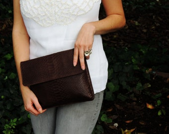 SALE 15% off BROWN Leather Clutch in Python Leather by StudioMB.