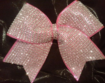 "Big Hot Pink Bling Luxury Cheer Bow! ""Rhinestone"" on Shiny Pink-Texas Size 3"" Choose Colors! Great Team Cheer Bows-Discounts! Dance, Gymnast"