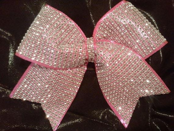 Big Hot Pink Bling Luxury Cheer Bow Rhinestone on